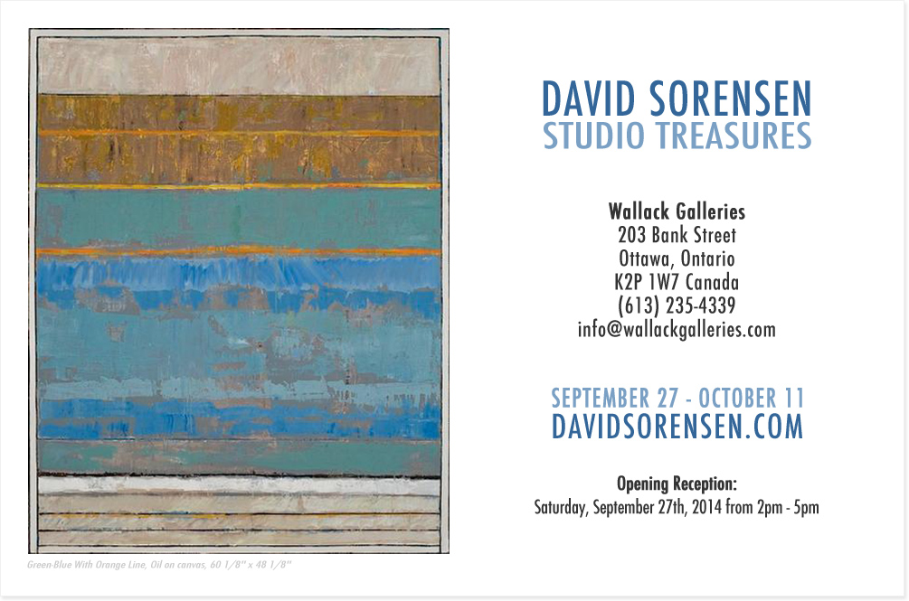 David Sorensen - Studio Treasures • September 13 - October 9 • Wallack Galleries • 203 Bank Street • Ottawa, Ontario